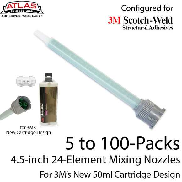 EPX Mixing Nozzle Multi-Packs-fits 3M 50ml Duo-Pak Adhesive Cartridges (Longer 24-element, 4.5in, 1:1 & 2:1 ratios)