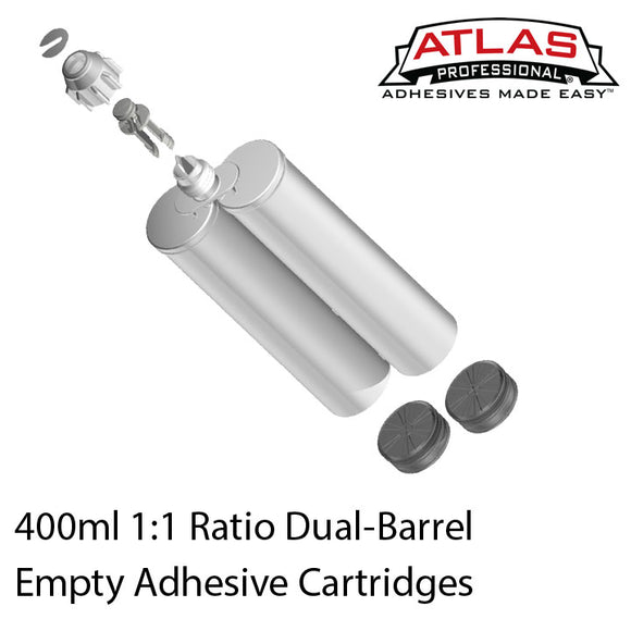 400ml (13.2oz) 1:1 Ratio Empty 2-Part Cartridges with included Pistons & Sealing Caps