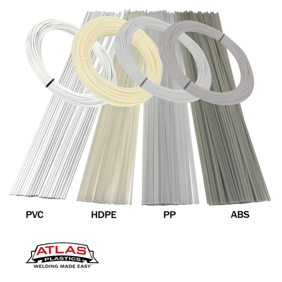 Atlas Plastics - Variety Packs - Plastic Welding Rods & Coils - Natural Colors (PVC HDPE PP ABS)