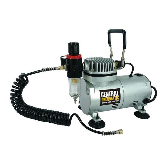 Central Pneumatic 1/6 HP, 58 psi Oil-Free Mini Compressor, with Adjustable Pressure Regulator and Moisture Trap