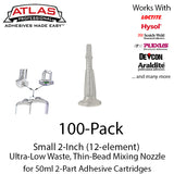 Small Ultra-Low Waste Mixing Nozzles for 50ml/1.7oz Cartridges (2-Inch 12-Element 1/8in ID)