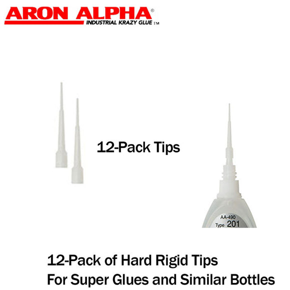 Aron Alpha-Hard Rigid Dispensing Tips (Push-On & Luer-Lock) (12-Pk) for Small-Diameter Super Glue bottles