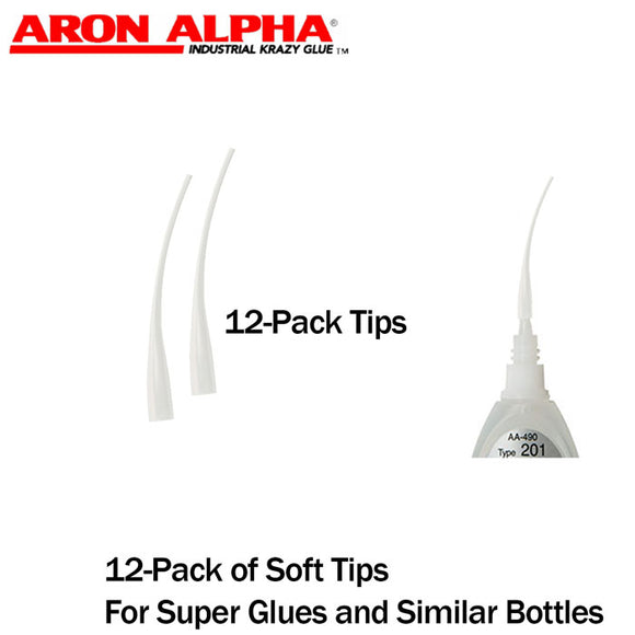 Aron Alpha-Soft Dispensing Tips (Push-On & Luer-Lock) (12-Pk) for Small-Diameter Super Glue bottles