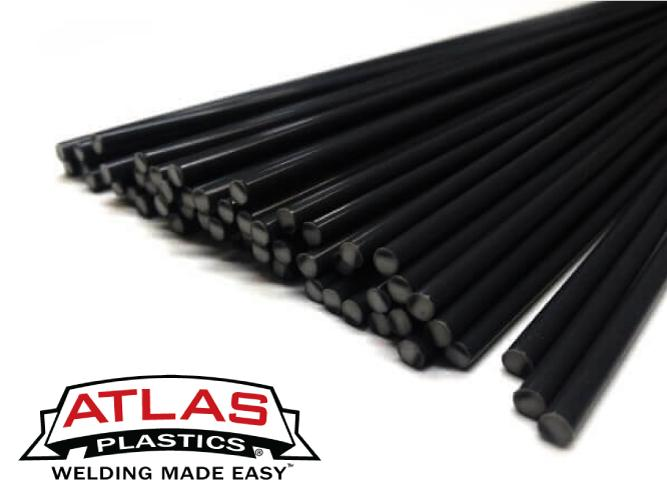HDPE Polyethylene Plastic Welding Rods-Black (12-Inch x 1/8in or 3mm dia)