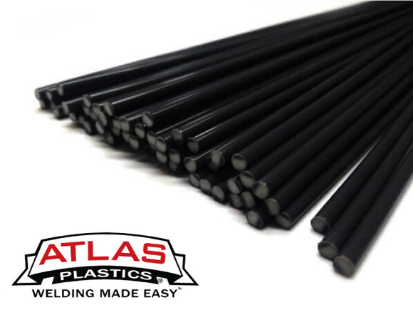 Polyvinyl Chloride PVC Plastic Welding Rods-Black (12-Inch x 1/8in or 3mm dia)
