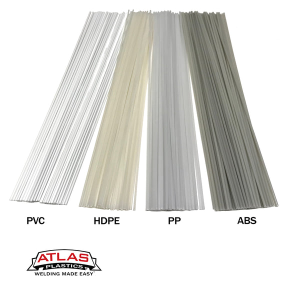 Plastic Welding Rod Variety Packs All Natural Color (PVC HDPE PP ABS) 12-Inch x 1/8in or 3mm dia