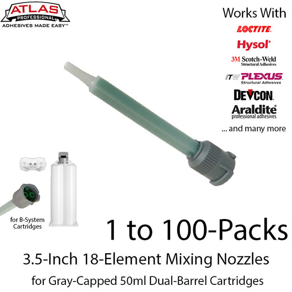 Gray Inlet Mixing Nozzle - Green 3.5-Inch 18-Element Square Quad-for 50ml Gray-Cap Cartridge (1:1 & 2:1 ratio)