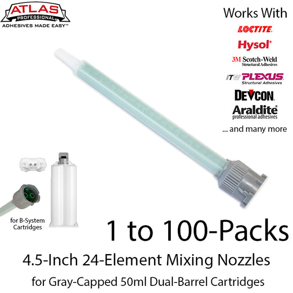 Gray Inlet Mixing Nozzle - Green 4.5-inch 24-Element Square Quad-for 50ml Gray-Cap Cartridges (1:1 & 2:1 ratio)