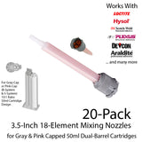 Mixing Nozzles-Orange 3.5-Inch 16-Element Square-for 50ml Gray-Cap Cartridges (10:1 & 4:1 ratio)