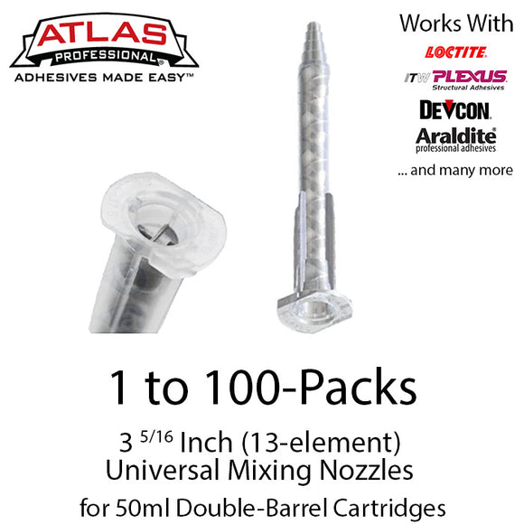 Atlas Pro Small Mixing Nozzles / Tips (3  5/16-inch 13-element Static Mixers) for 50ml Cartridges