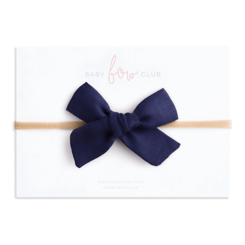 Navy Linen // Petite Frankie Bow