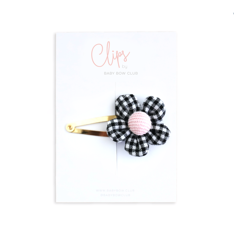 Gingham Flower Clip