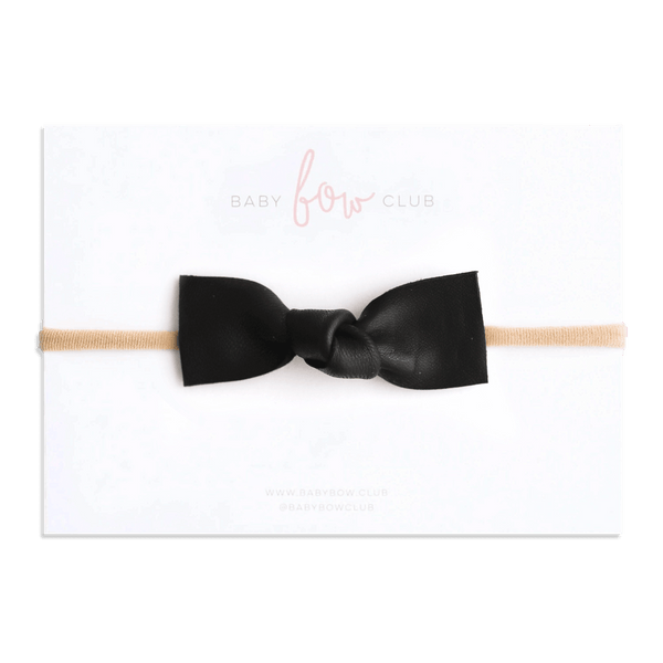 Black // Leather Knot Bow