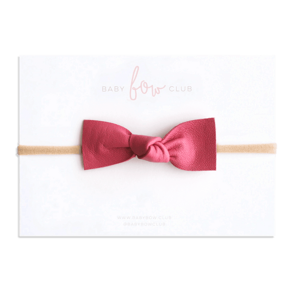 Cerise // Leather Knot Bow