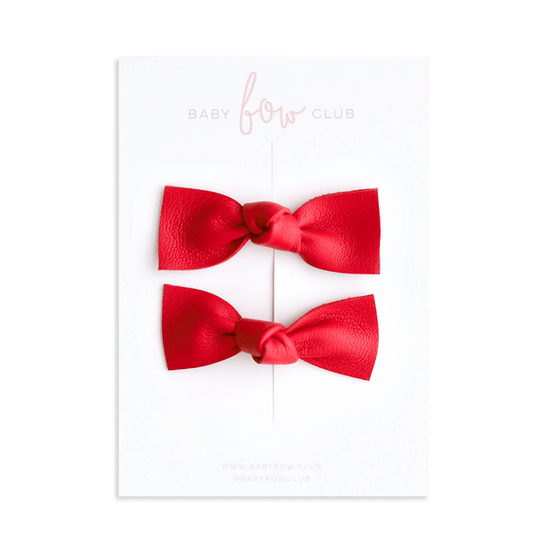 Red // Leather Knot Bow