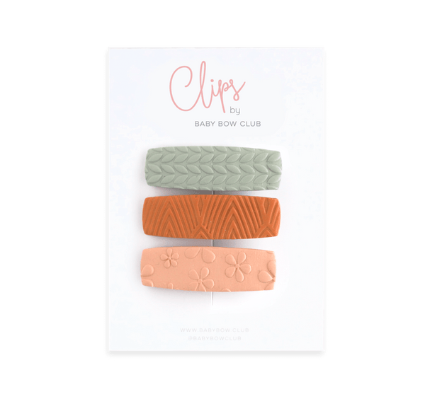 Clay Clip Set - Sage // Ginger // Soft Peach