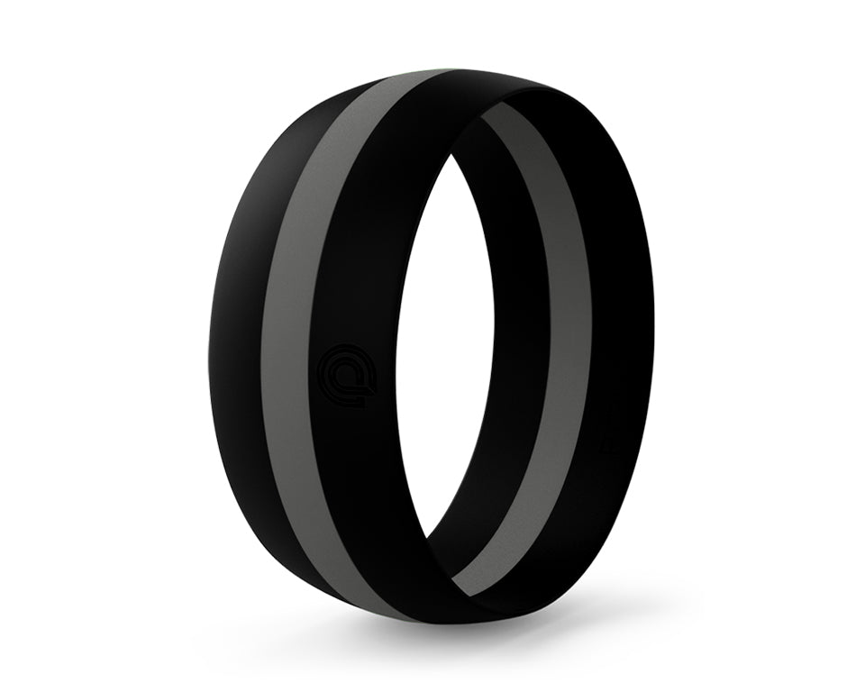 BLACK WITH GRAY STRIPE SILICONE RING