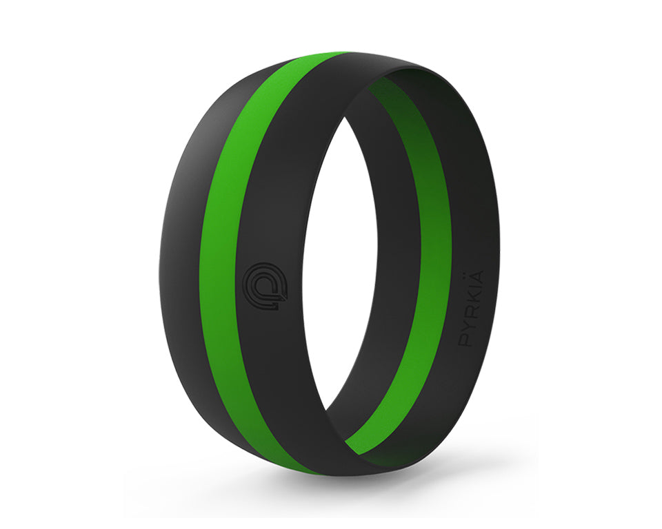 BLACK WITH LIME STRIPE SILICONE RING