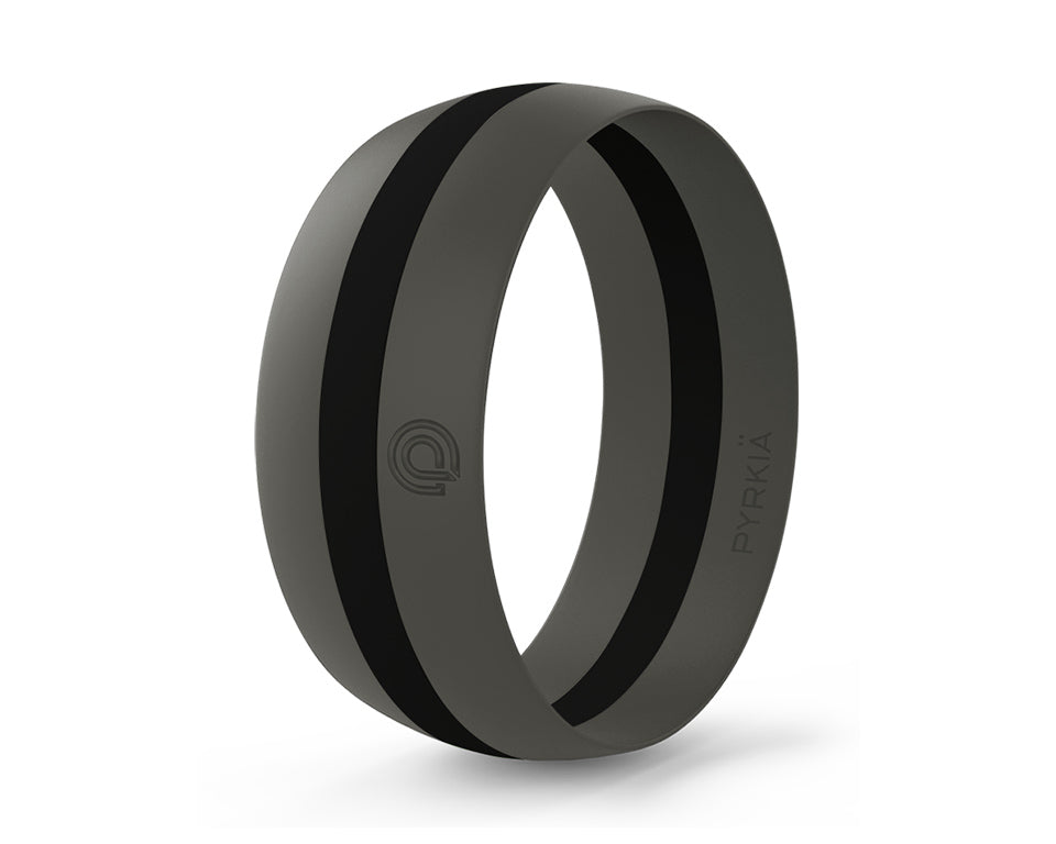 GRAY WITH BLACK STRIPE SILICONE RING