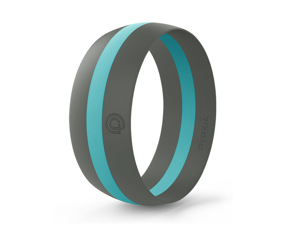 GRAY WITH TURQUOISE STRIPE SILICONE RING