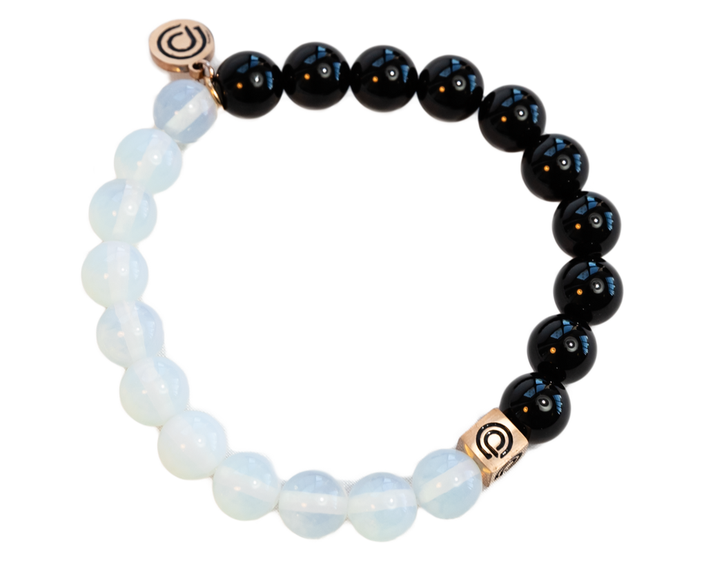 NIGHT & DAY BEAD BRACELET (BLACK & CLEAR)