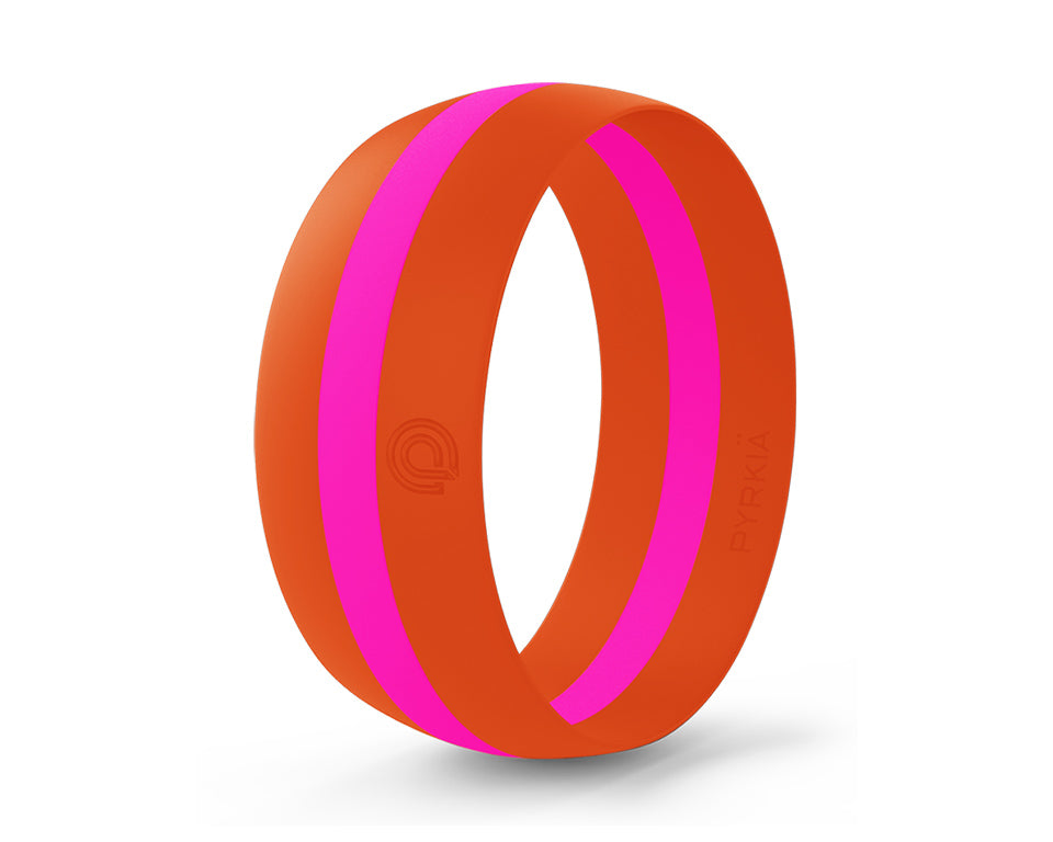 ORANGE WITH PINK STRIPE SILICONE RING