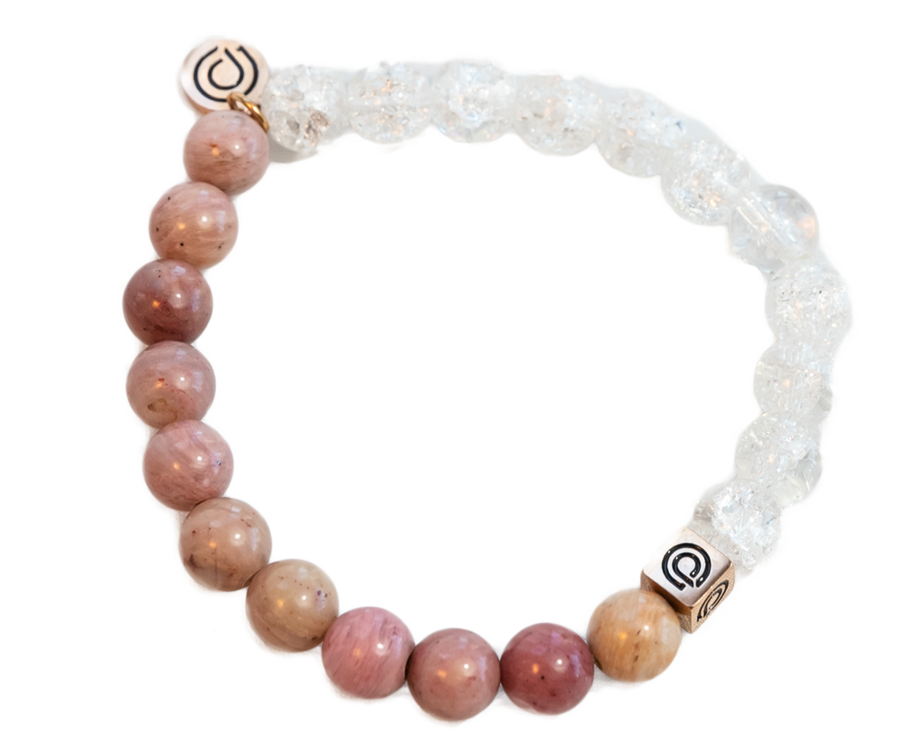 ROSE GLASS BEAD BRACELET (ROSE AND CLEAR)
