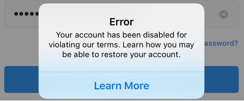 instagram error message