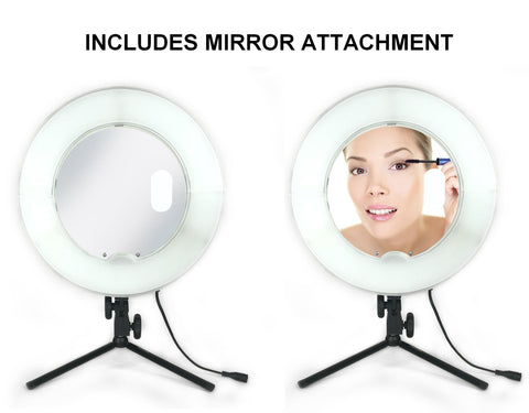 mirror attachment for tabletop ring light