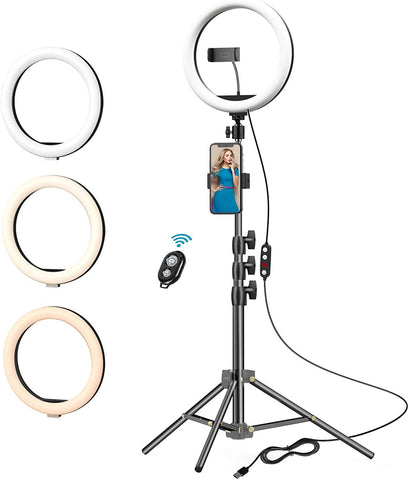 "10"" LED Ring Light Kit with Stand & Phone Holder for Live Streaming Video Photography Compatible with All iPhones & Android Phones"