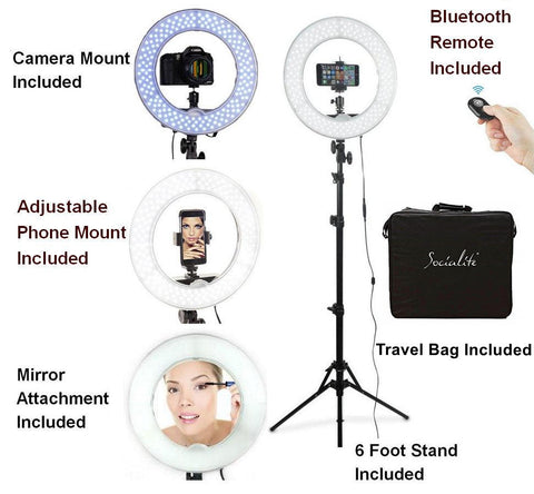 SOCIALITE 12 Inch LED Ring Light Kit  - Incl Ring Light, 6 foot Stand, Mirror, DSLR/iPhone Mount, & Remote