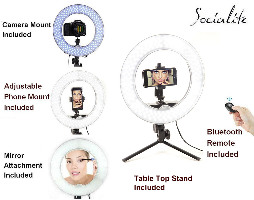 SOCIALITE 12 Inch LED Tabletop Ring Light Kit - Incl Ring Light/Mini Stand/Smartphone  Mount/Mirror/ Remote