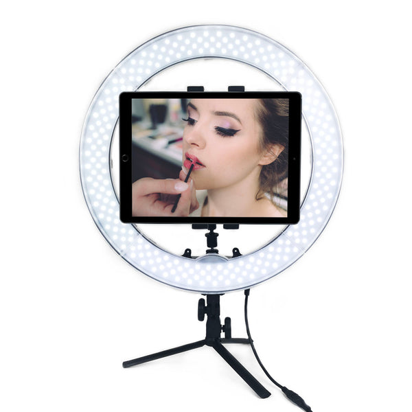 SOCIALITE 18 Inch IPAD LED Tabletop Ring Light Kit - Incl Ring Light/Mini Stand/ Tablet Smartphone  Mount/Mirror/ Remote