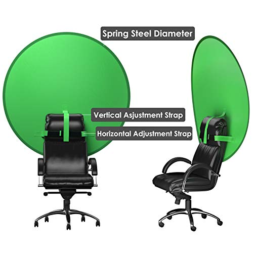 4.7 Ft Portable Green Screen Photography Backdrop, Collapsible Background Chromakey Green Screen for Chair, Video Conference Calls, Zoom Skype Chat &YouTube