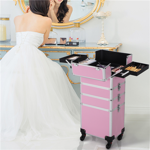 4 in 1 Professional Makeup Artists Trolley Train Case, Aluminum Rolling Train Organizer Suitcase for All of Your Gear! , Pink/ Black