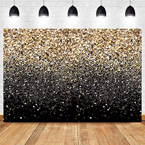 Gold Glitter Abstract Photography Backdrop - Perfect for Parties, Portraits, Weddings, Youtube Videos, and Photobooths Props 7x5ft