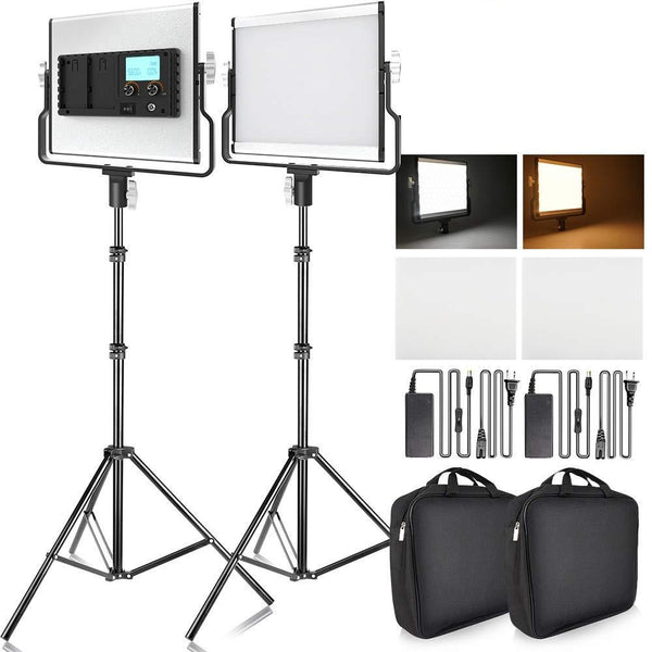 2 PC Dimmable Bi Color LED Panel Video Light Kit incl Bag for Studio Photography Video