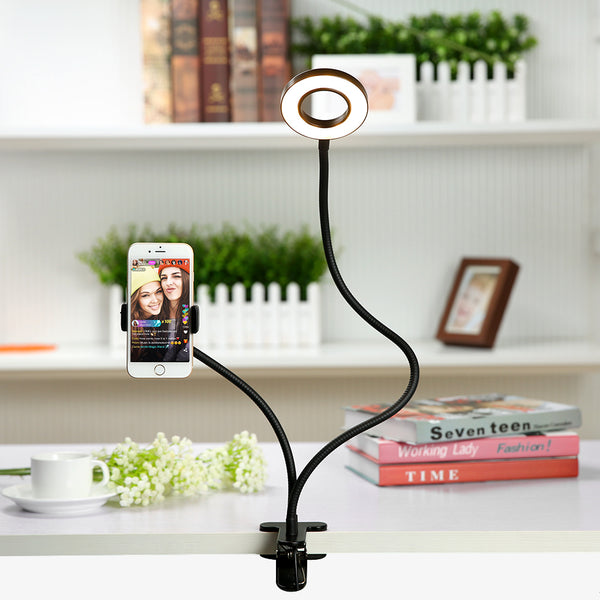 Clamp Phone Holder with Ring Light Flexible for Live Stream or Phone Dock, for Mobile iPhone Plus X/8/7/6/XS Samsung IOS Android