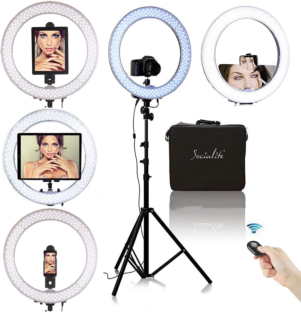 "SOCIALITE 19"" LED iPad Ring Light Kit - Incl. Light, 6ft Stand, iPhone/iPad/DSLR Mount, & Remote"
