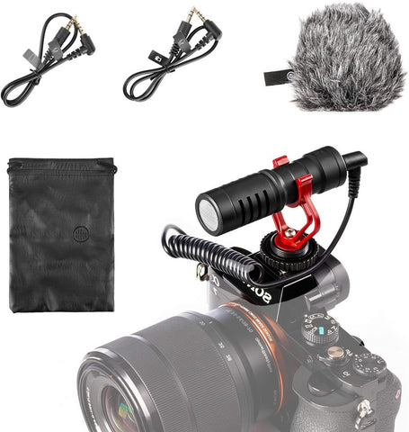 Shotgun Video Microphone with Shock Mount, W/ Windscreen, Case Compatible with iPhone/Android Smartphones, Canon EOS/Nikon DSLR Cameras Camcorders