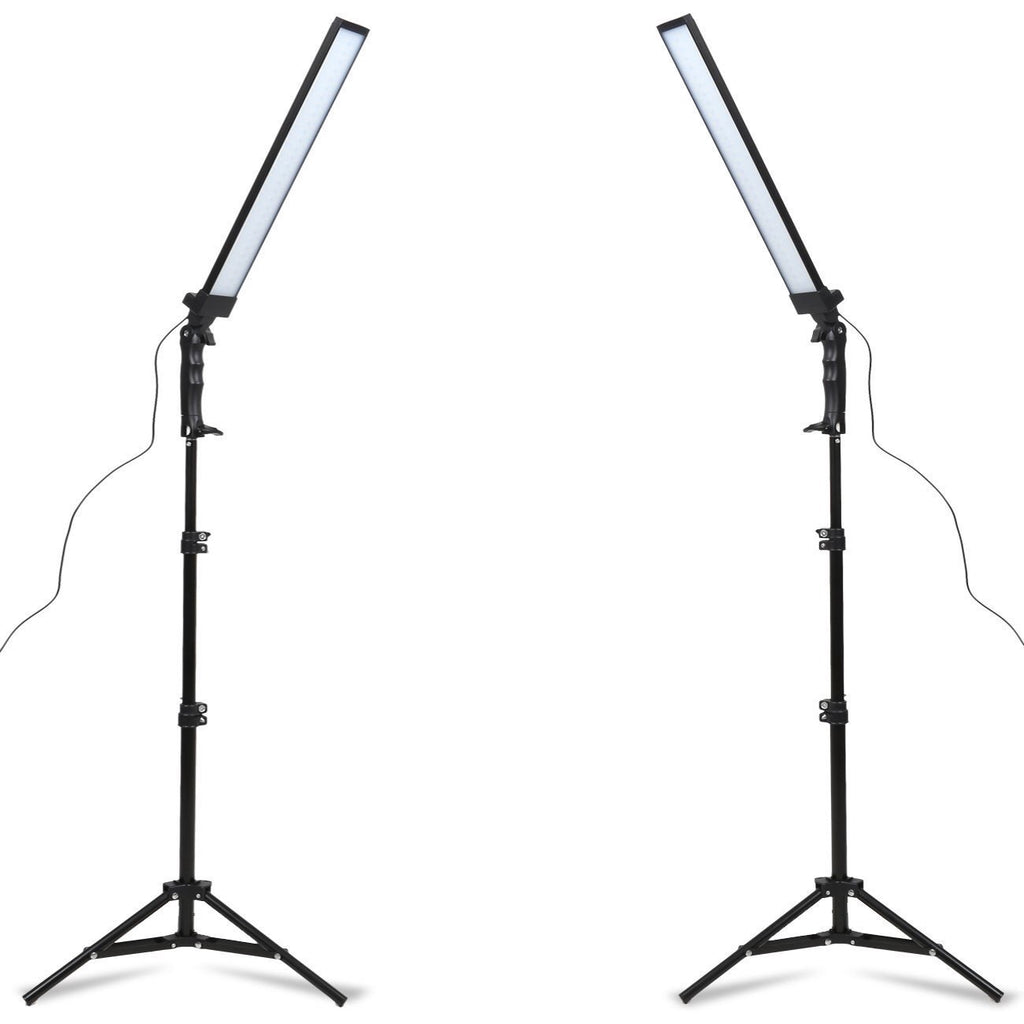 Skinny LED Lighting Kit - Fully Adjustable 90 degree Lights with Light Stands -  Photographic Video Fill Lights