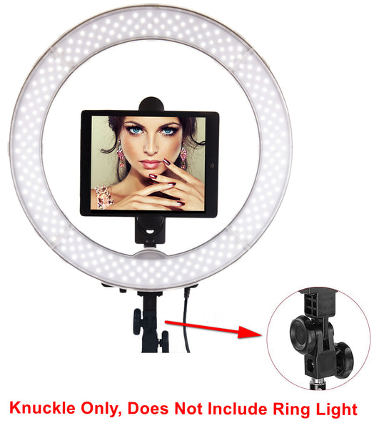 Ring Light Knuckle -180 Degree Adjustable Pivot Adapter for Ring Light Includes Tightening Knobs