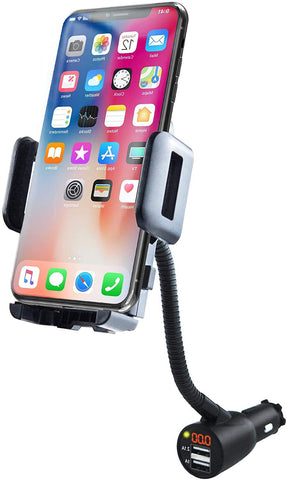 Smartphone Car Mount Charger Holder + Voltage Detector, Latching Cradle, Plugs Into Cigarette Lighter, For All Phones
