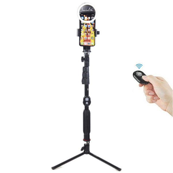 SOCIALITE Selfie Stick Ring Light Kit - Incl Mini Ring Light, Mini Tripod, Selfie Stick, & Remote