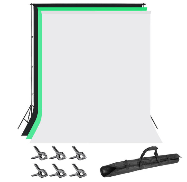 10 ft wide x 7 ft tall Backdrop Background with Stand  w/ Green, Black & White Fabric for Professional Photography Video Studio