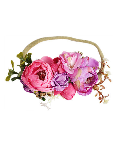 Luxe Floral Headband - Pink Passion