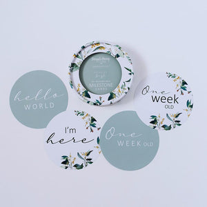 Eucalypt + Sage Reversible Milestone Cards - Tutu Irresistible Boutique