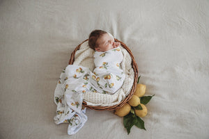 Jersey Wrap & Topknot Set - Lemon - Tutu Irresistible Boutique