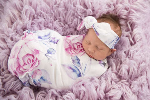 Baby Wrap/Swaddle Set - Lilac Skies