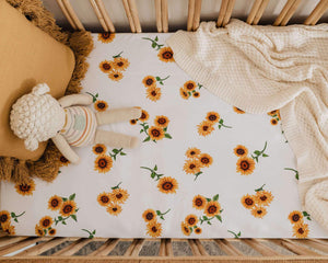Sunflower | Fitted Jersey Cot Sheet - Tutu Irresistible Boutique